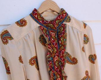 Vintage silk paisley blouse