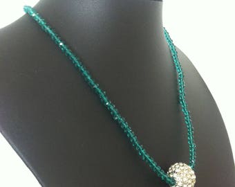 Green Beaded Crystal Cluster Costume Jewellery Fashion Statement Necklace