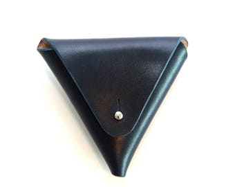 Leather Coin Triangle, Navy
