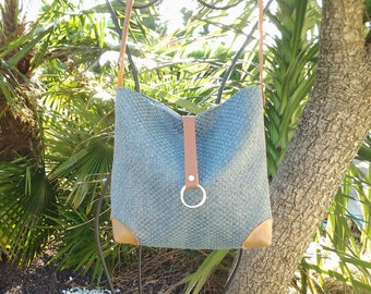 Fabric shoulder bag and leather