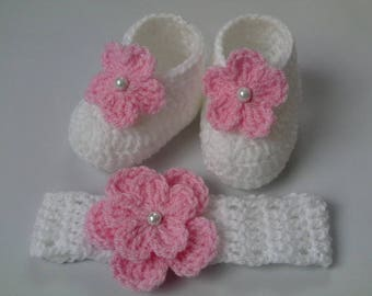 Baby Crochet Ankle Boots and Pink Sale Newborn 0-3 Months