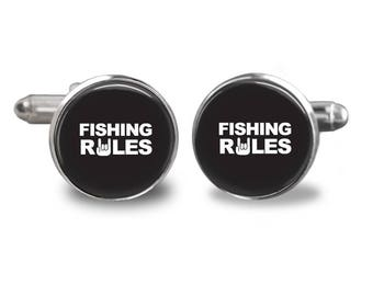 Fishing rules cufflinks fishing cufflinks fisherman cufflinks fish mens cufflinks glass cufflink silver cufflinks mens cuff links
