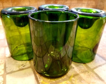 Recycled Glasses (Set of Four), Handcut Wine Bottles
