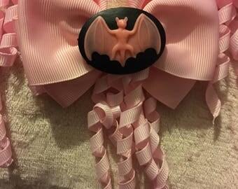 Pastel bat hair bow clip