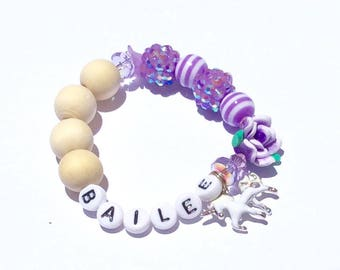 Children's Baby Toddler Beaded Name Bracelet Lavender Purplewith Swarovski Crystals and Enamel Unicorn Charm