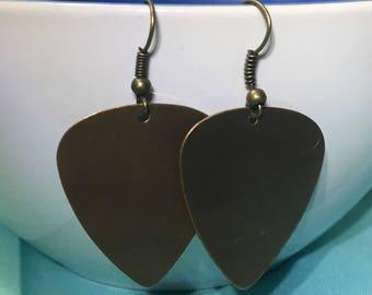 Bronze guitar pick earrings