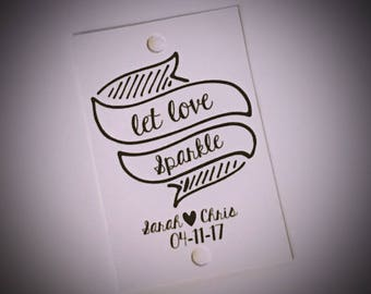 Sparkler tags. Let love sparkle. Personalised wedding tags