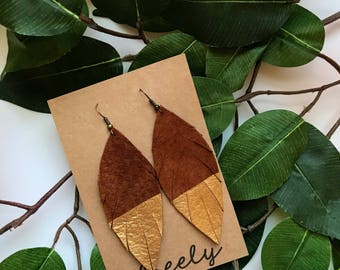 Brown and Gold Dipped Leather Feather Earrings