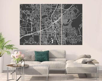 Huntsville Alabama, City Map, Canvas Print, Wall Art, Multi panel