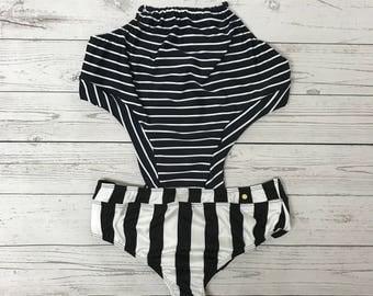 Black and white stripes trikini