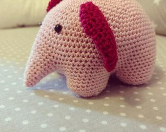 Amigurumi elephant/crocheted toy/pink elephant/baby toy