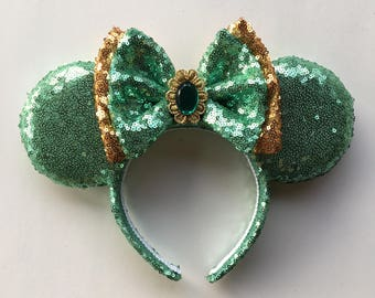 Princess Jasmine Minnie Ears, Jasmine ears, Blue Mickey Ears, Disney Princess, Sequin Blue Ears
