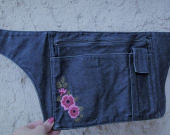 Belt Pocket - trendy dark blue jeans embroidered give banana - one size - women