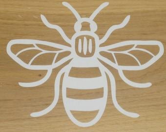 Manchester Bee Vinyl Car Decal Sticker 160mm x 130mm Line White B