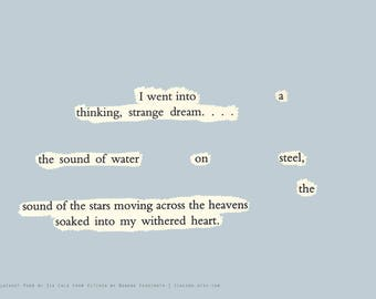 "Blackout Poem {020.} Poetry Art Print Postcard 5"" x 7"""