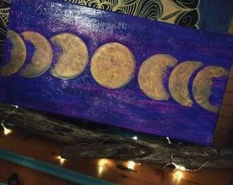 Purple moon phase painting