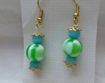 Green and blue with gold hook earrings