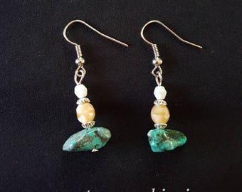 Turquoise & Tan Earrings