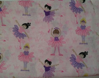 """Fabric 1yd 26""""x 44"""" Tippy Toes Material Little Ballerinas Tutus Pink Purple"""