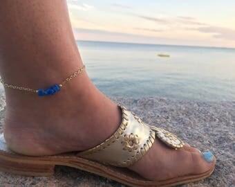 Beaded Anklet - Beaded Bar Anklet - Blue Gemstone Anklet - Beaded Ankle Bracelet