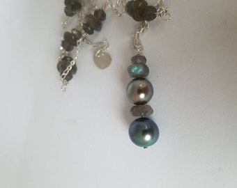 Robert Wan Tahitian pearl necklace pearl pendant, blue Tahitian pearl, silver Tahitian pearl sterling silver wire wrapped chain handmade