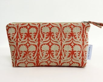 Patterned zipper pouch, Red
