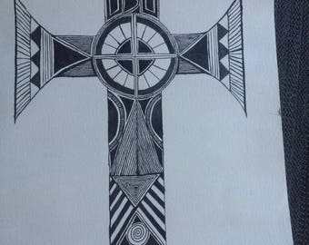 Cross art wall piece