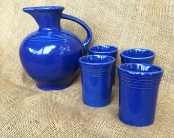 Sapphire Carafe and 4 tumblers *rare color*