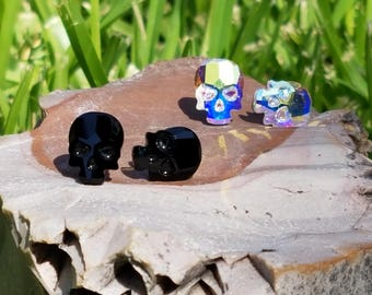 Skull swarovski crystal stud earrings