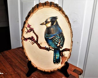 Bird Colored Pyrography Plank, Wooden Plank, Bird art, flowers, pyrography