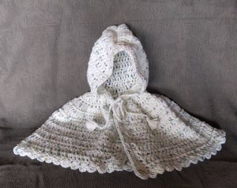 White Baby Cape with Blue/Green Speckles, White Baby Poncho with Blue/Green Speckles, Little Red Riding Hood