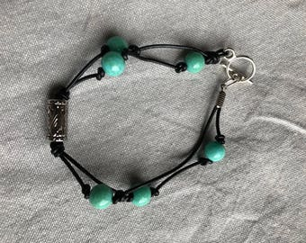Black Cording and Turquoise Bead Bracelet