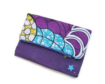 Pochette pliable // Tissu Wax // Etoiles // Cadeau pour elle // Pochette main tendance violette en suédine