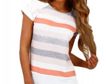 Orange and Grey Multi Stripe Female T-Shirt