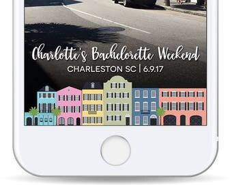 Charleston Bachelorette Filter - Snap Chat Geofilter Rainbow Row - Bachelorette Party - Wedding Snapchat Filter - Charleston Geofilter