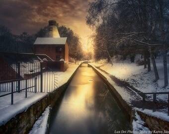 Landscape Photography, Architectural print, Photography, Wall Art, Nature Print, Nature Wall Art, Sunset, Landscape Art, Winter, Ironbridge