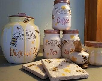 Set of 3 Bee Tea Coffee Sugar  kitchen canisters handmade kilner honey bee hand painted