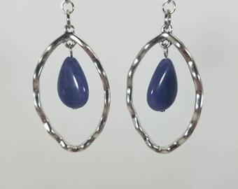 Silver oval and Blue teardrop dangle earrings