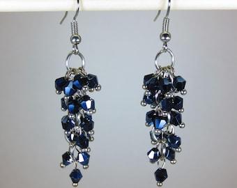 Bluish/Black colored jewel dangle earrings