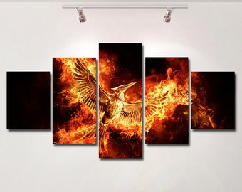 The Hunger Games poster Mockingjay canvas wall art print painting wall hanging home decor High Quality 5 piece set Gift kids movie