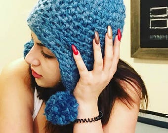 Blue winter hat with pom poms, Hand made hat, Crochet hat,