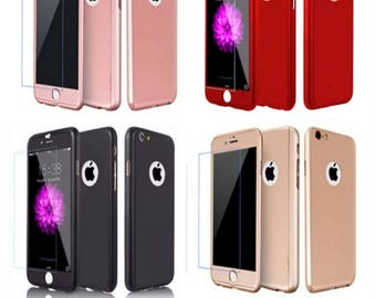 360 Degree Protective Hard Thin Case Cover +Tempered Glass For Apple iPhone 6 6S 7 Plus
