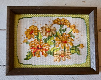 Vintage Floral Cross Stitch || Framed Embroidery
