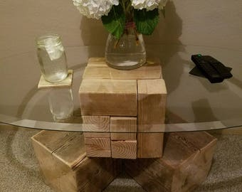 Wood Block Coffee Table with Glass Top (Baby Girl & Big Boy block patterns)