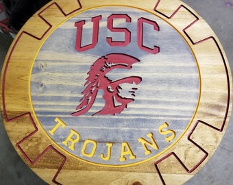 USC Trojans! Wood router sign Painted and stained 16 inch round by 11/16 thick! Perfect for man or lady cave.