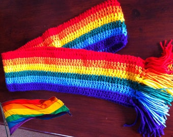 Rainbow Striped Pride Scarf