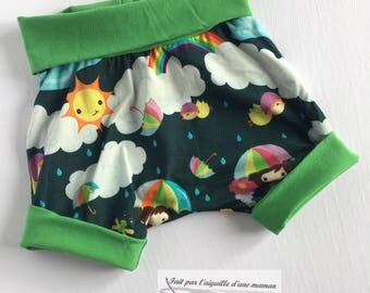 shorts grow with me maxaloone shorts, evolutionary, 6-36 months, Sun, cloud, umbrella, green