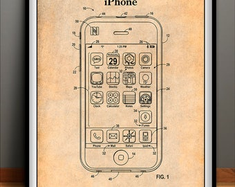iPhone Patent Print, Apple iPhone,  Apple Computer Art, Computer Patent, Apple Poster, Free Shipping