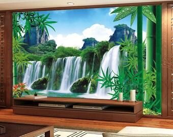 bamboo wallpaper etsy. Black Bedroom Furniture Sets. Home Design Ideas