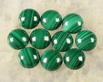 10 Pieces Lot Natural Malachite Round Loose Gemstone Cabochon